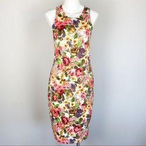 Audrey Floral Sleeveless Bodycon Dress Medium